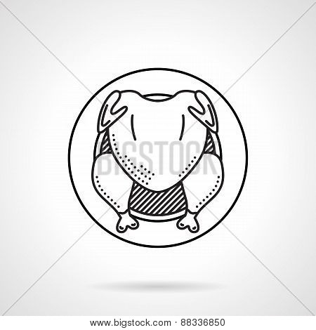 Grilled chicken black line vector icon