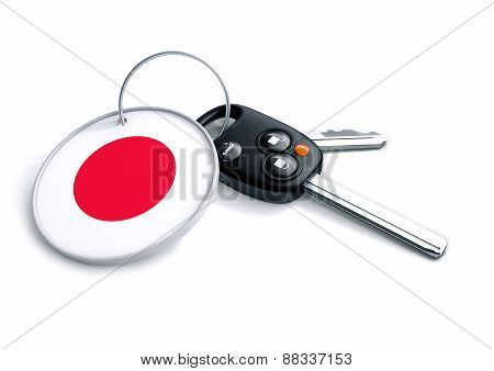 Car keys with Japanese flag on keyring
