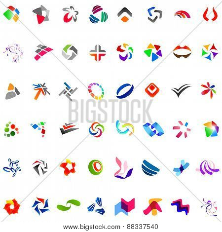 48 Different Colourful Abstract Symbols