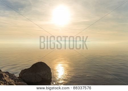 Beach with rocks and a cloudy sky