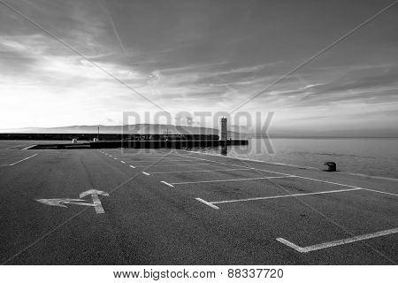 Empty parking lot at the sea