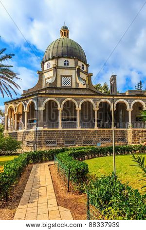 Catholic church dedicated to the Beatitudes. Paved with smooth stones path leads to the temple