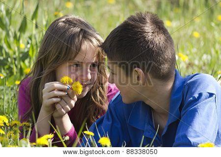 Boy and girl lying in a field of dandelion