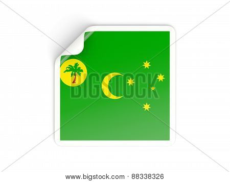 Square Sticker With Flag Of Cocos Islands