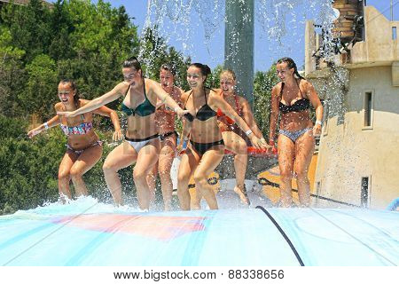 Young people in the Water park