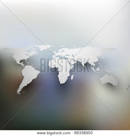 World map with shadow, network connection concept. Infographic for business design template, blurred