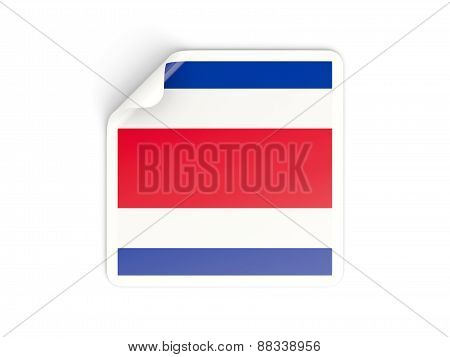 Square Sticker With Flag Of Costa Rica