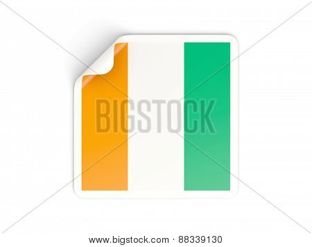 Square Sticker With Flag Of Cote D Ivoire
