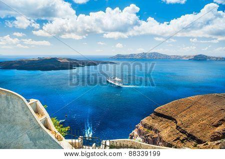 Beautiful View Of The Sea And Islands. Santorini Island, Greece.