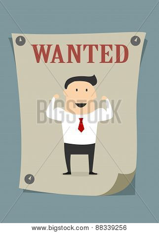 Confident businessman in wanted poster
