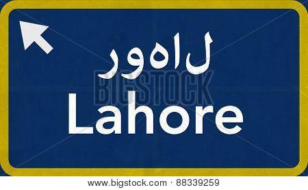 Lahore Pakistan Highway Road Sign