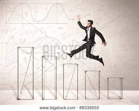 Fast business man jumping up on hand drawn charts concept