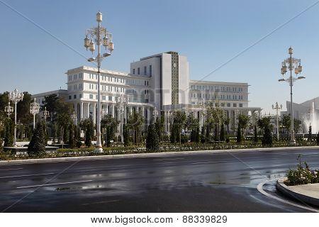 Ashgabad, Turkmenistan - October 15, 2014: Central Square Of Ashgabad In October  15, 2014. Turkmeni