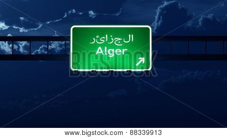 Alger Algeria Highway Road Sign At Night