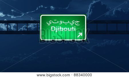 Djibouti Highway Road Sign At Night