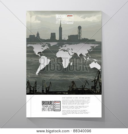 Shipyard and city landscape, world map vector. Brochure, flyer or report for business, templates vec