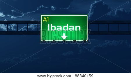 Ibadan Nigeria Highway Road Sign At Night