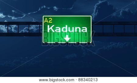 Kaduna Nigeria Highway Road Sign At Night