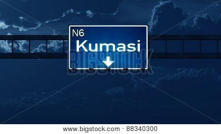Kumasi Ghana Highway Road Sign At Night