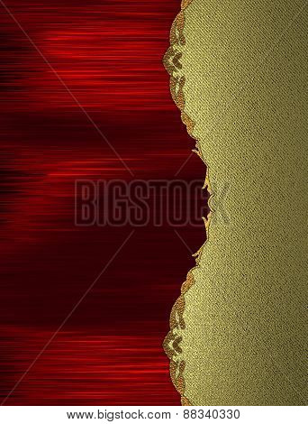 Red Background With Gold Edge. Design Template