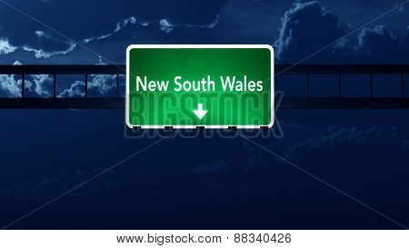 New South Wales Australia Highway Road Sign At Night