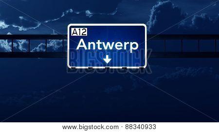 Antwerp Belgium Highway Road Sign At Night