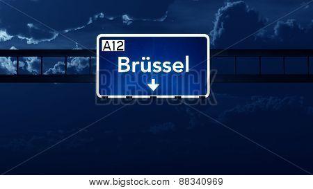 Brussel Belgium Highway Road Sign At Night