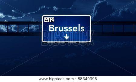 Brussels Belgium Highway Road Sign At Night
