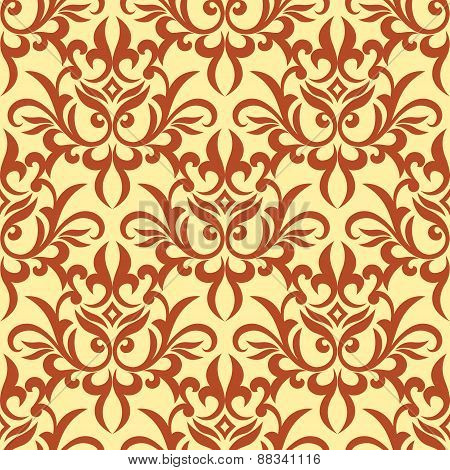 Damask seamless pattern with orange ornament