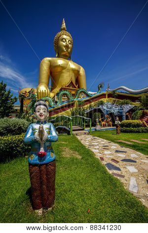 Big Buddha Image With Welcome Boy Statue