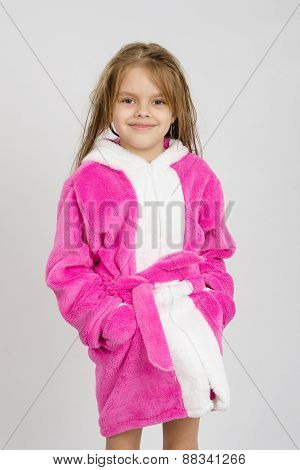 Portrait Of Six-year Girl In A Pink Bathrobe