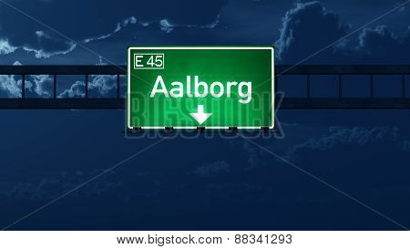 Aalborg Denmark Highway Road Sign At Night