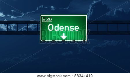 Odense Denmark Highway Road Sign At Night