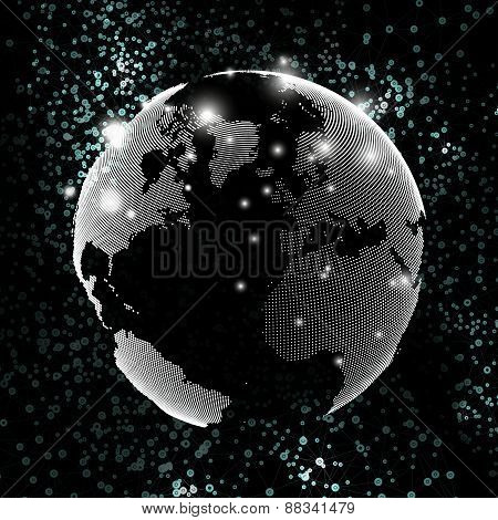 World globe, global network. Molecule structure, black background for communication, science vector