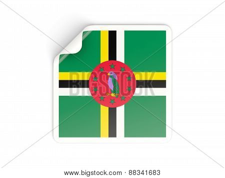 Square Sticker With Flag Of Dominica