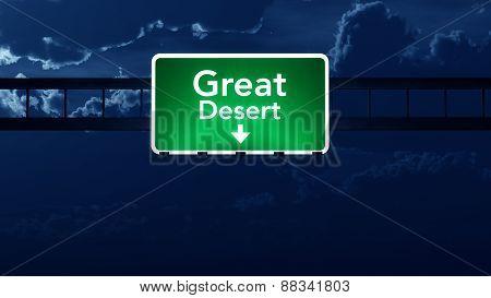 Great Desert Australia Desert Highway Road Sign At Night