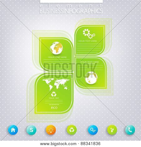 Modern green infographic design with place for your text. Can be used for workflow layout, diagram,