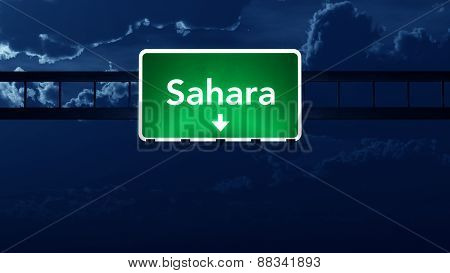 Sahara Africa Highway Road Sign At Night