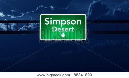 Simpson Desert Australia Highway Road Sign At Night
