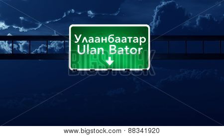 Ulan Bator Mongolia Desert Highway Road Sign At Night