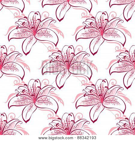 Pink and purple lilies seamless pattern