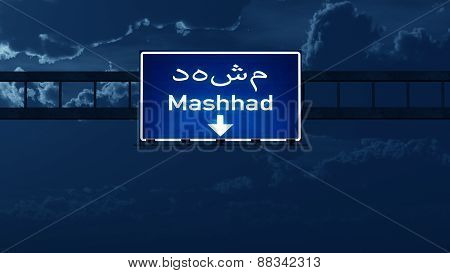 Mashhad Iran Highway Road Sign At Night