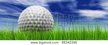 Green, fresh and natural 3d conceptual grass over a blue sky background banner with a golf ball at horizon