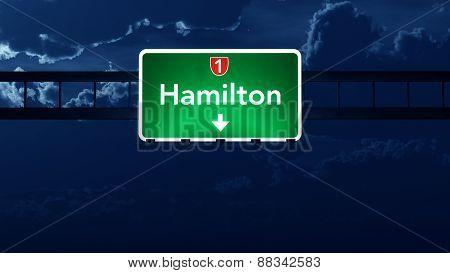 Hamilton New Zealand Highway Road Sign At Night
