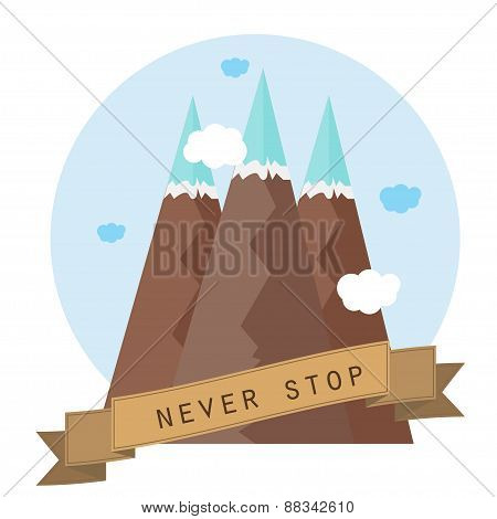 Vector Illustration. Flat Mountains. Mission And Achievement. Nature And Travel.