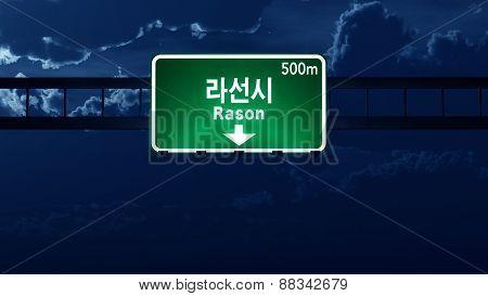 Rason North Korea Highway Road Sign At Night