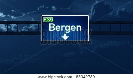 Bergen Norway Highway Road Sign At Night