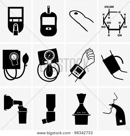 Glucometer, tonometer, inhaler