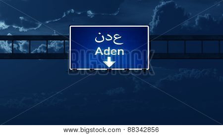 Aden Yemen Highway Road Sign At Night