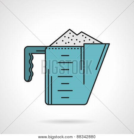 Blue measure cup flat vector icon